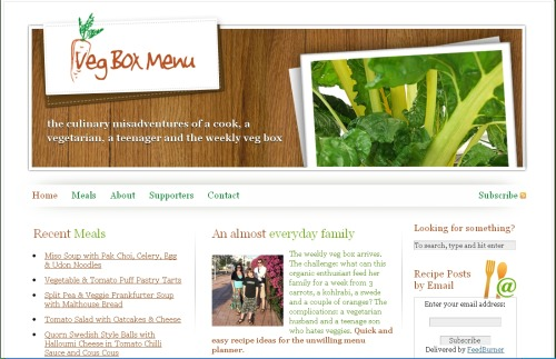 vegboxmenu website